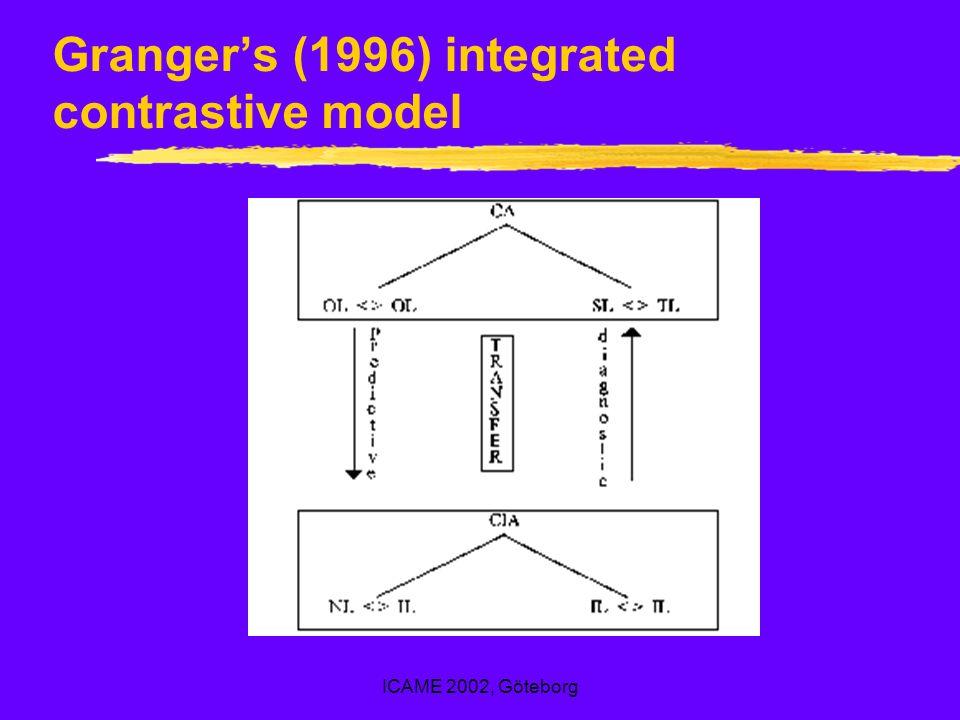 ICAME 2002, Göteborg Grangers (1996) integrated contrastive model