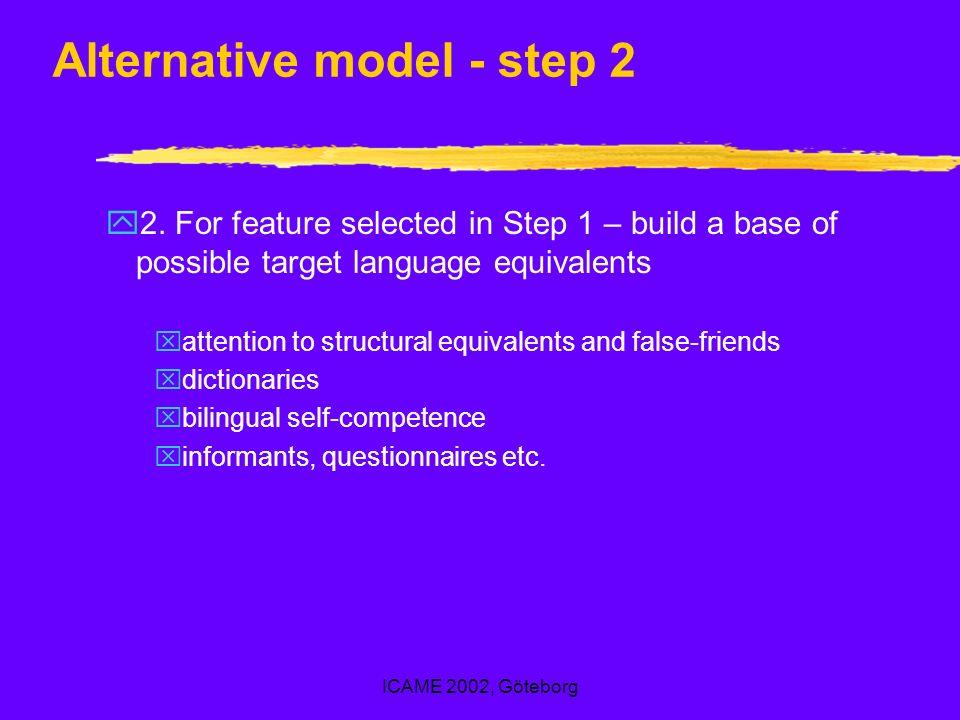 ICAME 2002, Göteborg Alternative model - step 2 y2.