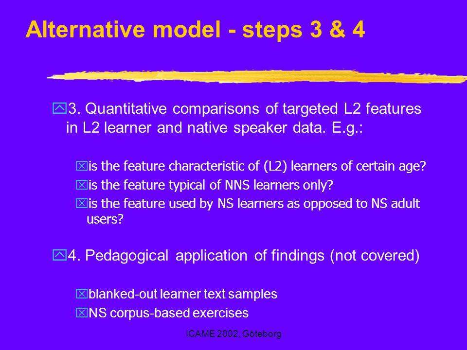ICAME 2002, Göteborg Alternative model - steps 3 & 4 y3.