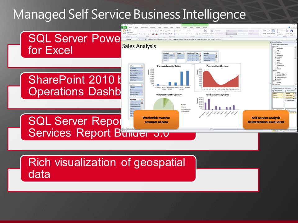 SQL Server PowerPivot Add-in for Excel SharePoint 2010 based Operations Dashboard SQL Server Reporting Services Report Builder 3.0 Rich visualization of geospatial data