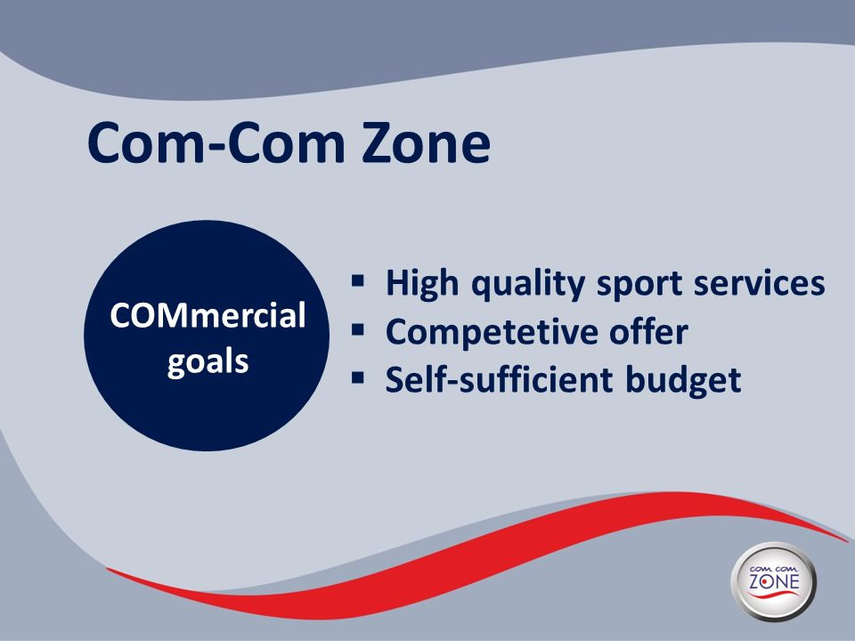Com-Com Zone High quality sport services Competetive offer Self-sufficient budget COMmercial goals