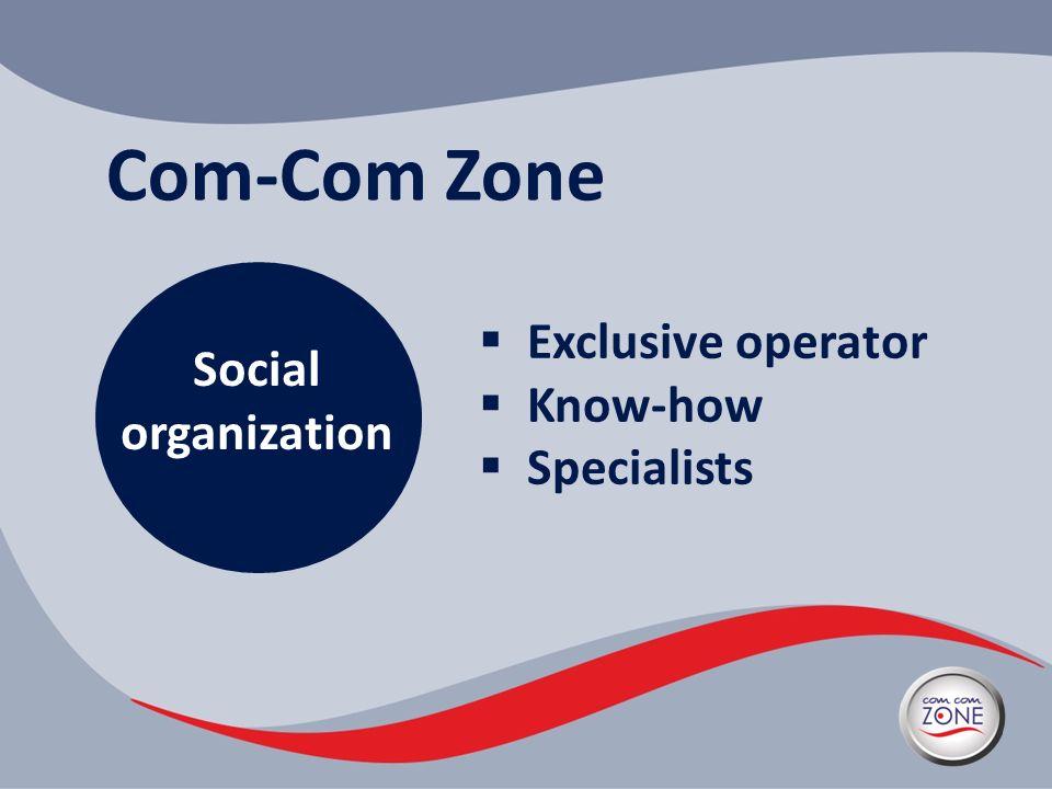 Com-Com Zone Social organization Exclusive operator Know-how Specialists