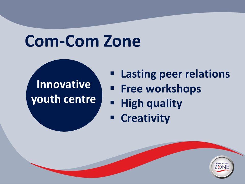 Com-Com Zone Innovative youth centre Lasting peer relations Free workshops High quality Creativity