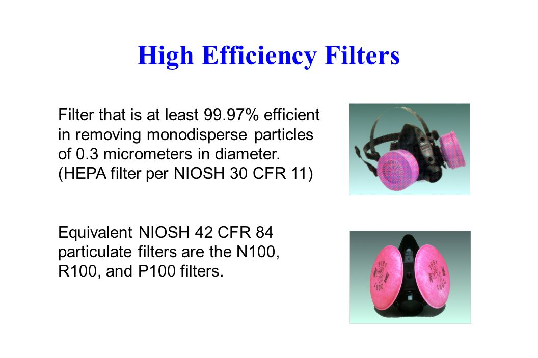 High Efficiency Filters Filter that is at least 99.97% efficient in removing monodisperse particles of 0.3 micrometers in diameter. (HEPA filter per N