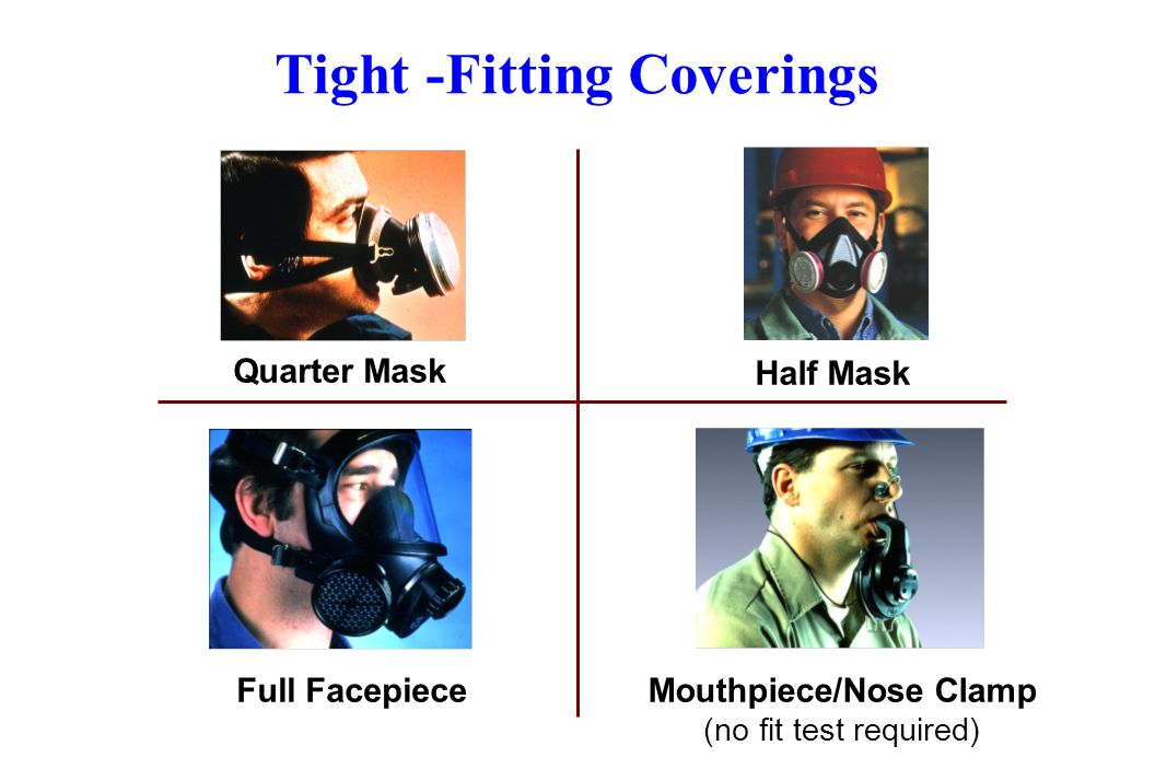Tight -Fitting Coverings Quarter Mask Half Mask Full FacepieceMouthpiece/Nose Clamp (no fit test required)