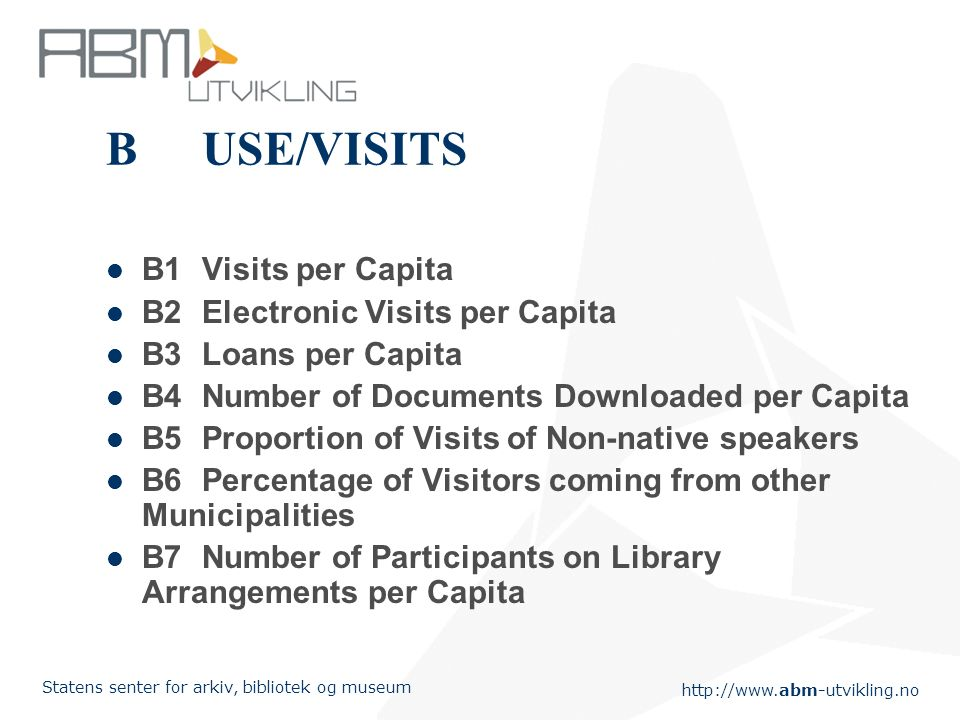 Statens senter for arkiv, bibliotek og museum BUSE/VISITS B1Visits per Capita B2Electronic Visits per Capita B3Loans per Capita B4Number of Documents Downloaded per Capita B5Proportion of Visits of Non-native speakers B6 Percentage of Visitors coming from other Municipalities B7Number of Participants on Library Arrangements per Capita
