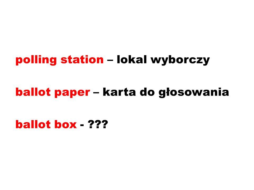 polling station – lokal wyborczy ballot paper – karta do głosowania ballot box -
