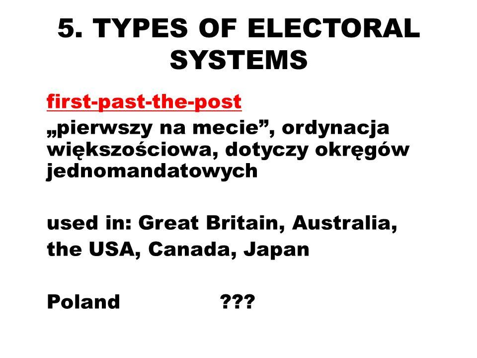 5. TYPES OF ELECTORAL SYSTEMS first-past-the-post pierwszy na mecie, ordynacja większościowa, dotyczy okręgów jednomandatowych used in: Great Britain,