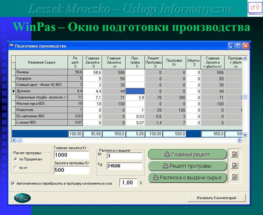 WinPas – Окно подготовки производства