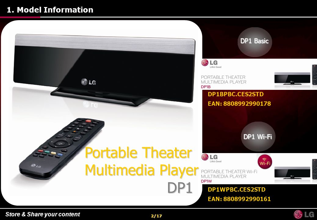Store & Share your content 13/49 DTS / Dolby AC3 - -Connect to your home theater and enjoy DTS and Dolby 5.1 channel or automatically converse 5.1 channel sound to 2.0 channel with down mix function to enjoy your contents on TV or normal stereo audio 7.