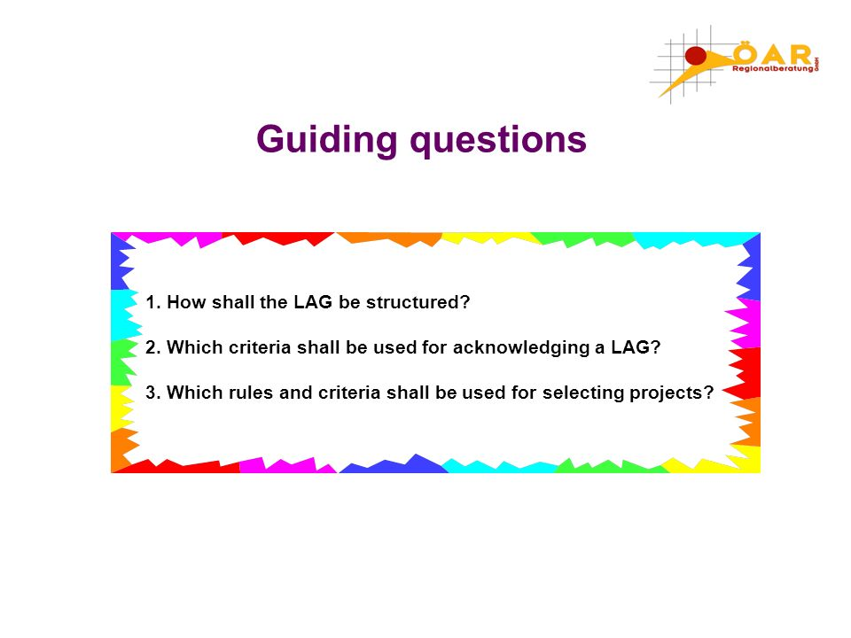3. Which rules and criteria shall be used for selecting projects?