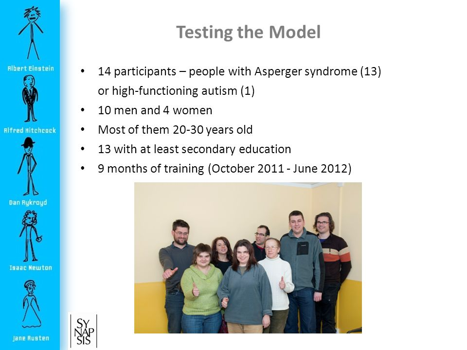 Testing the Model 14 participants – people with Asperger syndrome (13) or high-functioning autism (1) 10 men and 4 women Most of them years old 13 with at least secondary education 9 months of training (October June 2012)