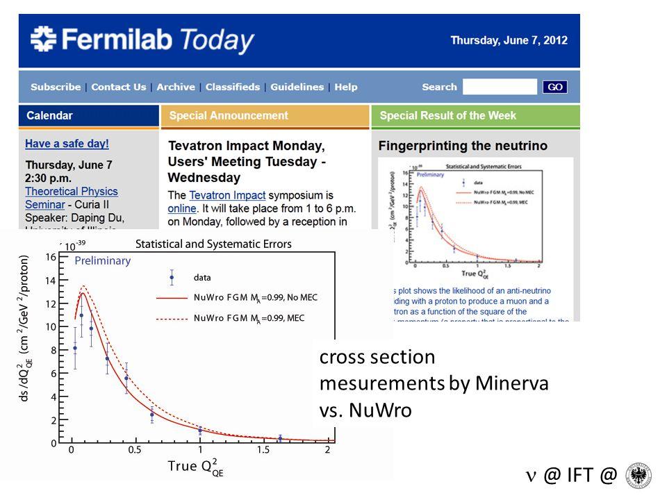 cross section mesurements by Minerva vs. NuWro @ IFT @