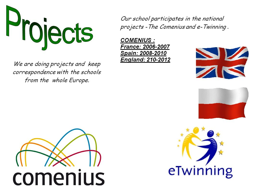 Our school participates in the national projects -The Comenius and e-Twinning.