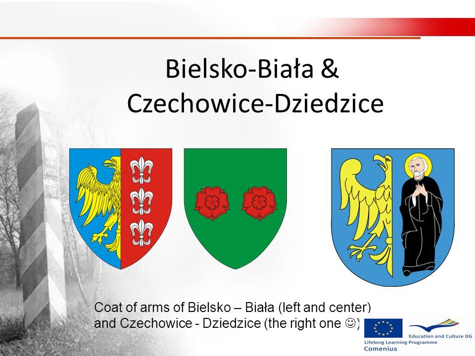 Bielsko-Biała & Czechowice-Dziedzice Coat of arms of Bielsko – Biała (left and center) and Czechowice - Dziedzice (the right one )