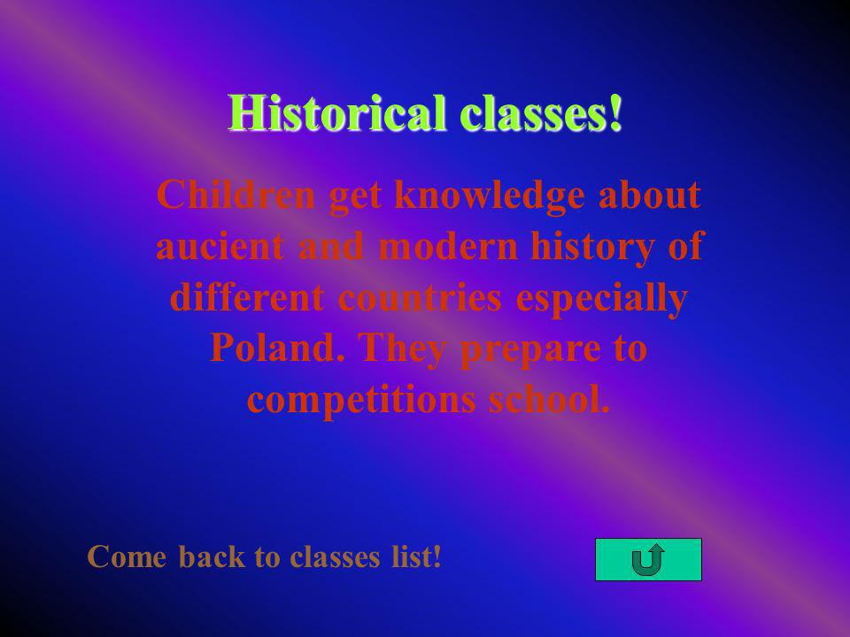 Historical classes. Come back to classes list.