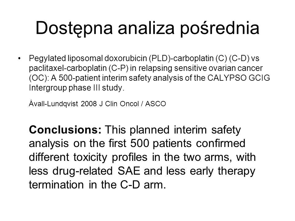 Dostępna analiza pośrednia Pegylated liposomal doxorubicin (PLD)-carboplatin (C) (C-D) vs paclitaxel-carboplatin (C-P) in relapsing sensitive ovarian