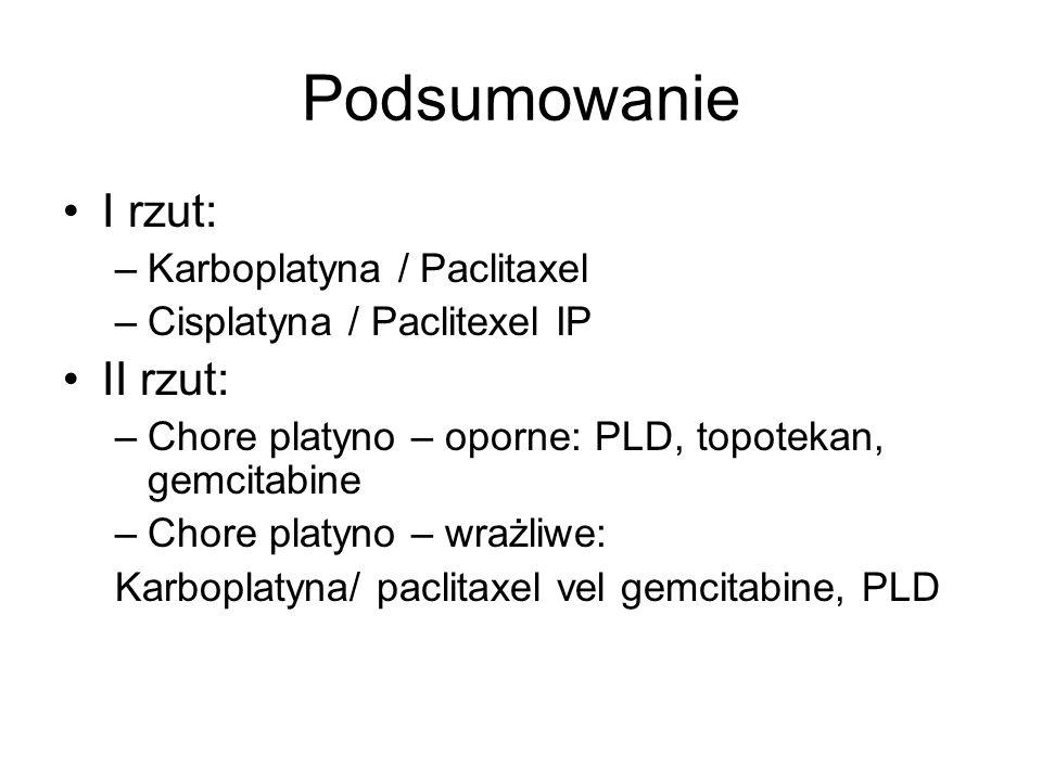 Podsumowanie I rzut: –Karboplatyna / Paclitaxel –Cisplatyna / Paclitexel IP II rzut: –Chore platyno – oporne: PLD, topotekan, gemcitabine –Chore platy
