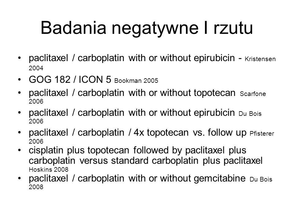 Badania negatywne I rzutu paclitaxel / carboplatin with or without epirubicin - Kristensen 2004 GOG 182 / ICON 5 Bookman 2005 paclitaxel / carboplatin