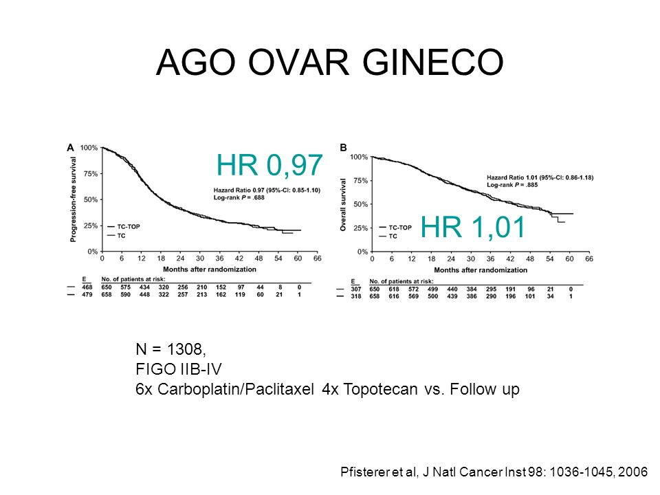 AGO OVAR GINECO N = 1308, FIGO IIB-IV 6x Carboplatin/Paclitaxel 4x Topotecan vs. Follow up HR 0,97 HR 1,01 Pfisterer et al, J Natl Cancer Inst 98: 103