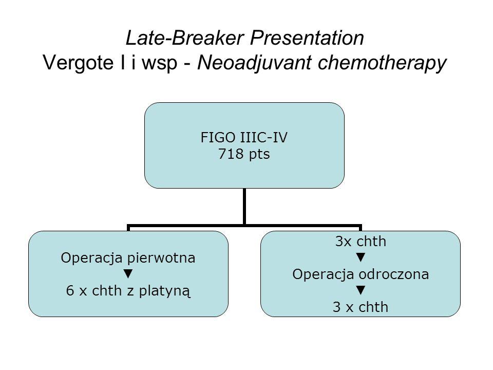 Late-Breaker Presentation Vergote I i wsp - Neoadjuvant chemotherapy FIGO IIIC-IV 718 pts Operacja pierwotna 6 x chth z platyną 3x chth Operacja odroc