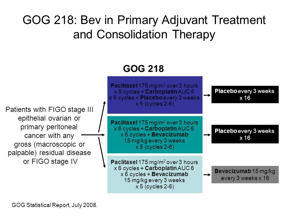 GOG 218: Bev in Primary Adjuvant Treatment and Consolidation Therapy GOG Statistical Report, July 2008. GOG 218 Patients with FIGO stage III epithelia