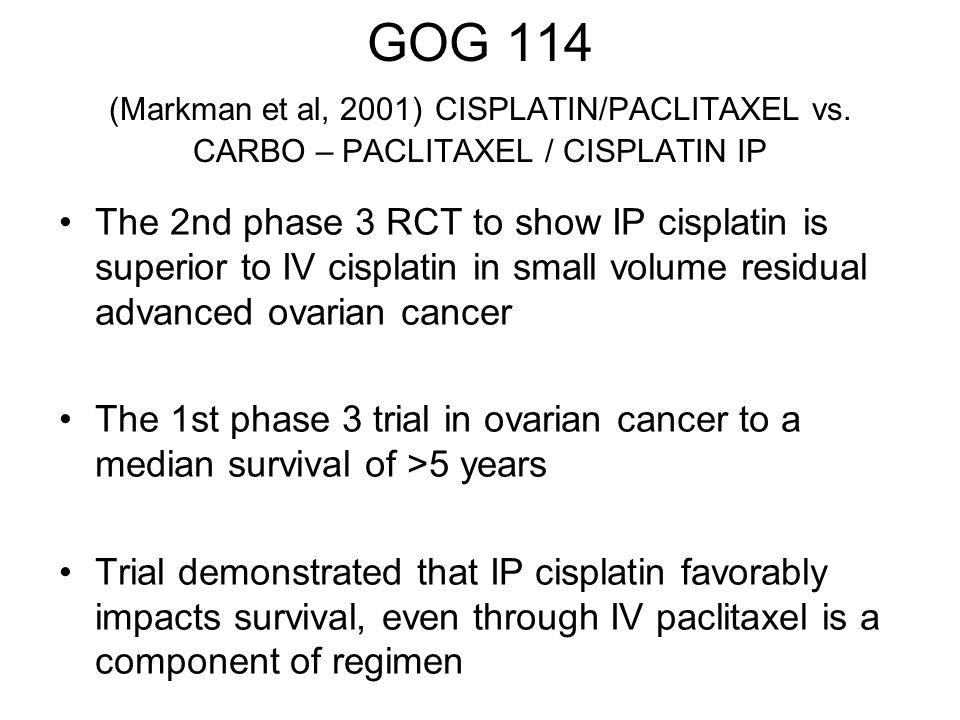 GOG 114 (Markman et al, 2001) CISPLATIN/PACLITAXEL vs. CARBO – PACLITAXEL / CISPLATIN IP The 2nd phase 3 RCT to show IP cisplatin is superior to IV ci