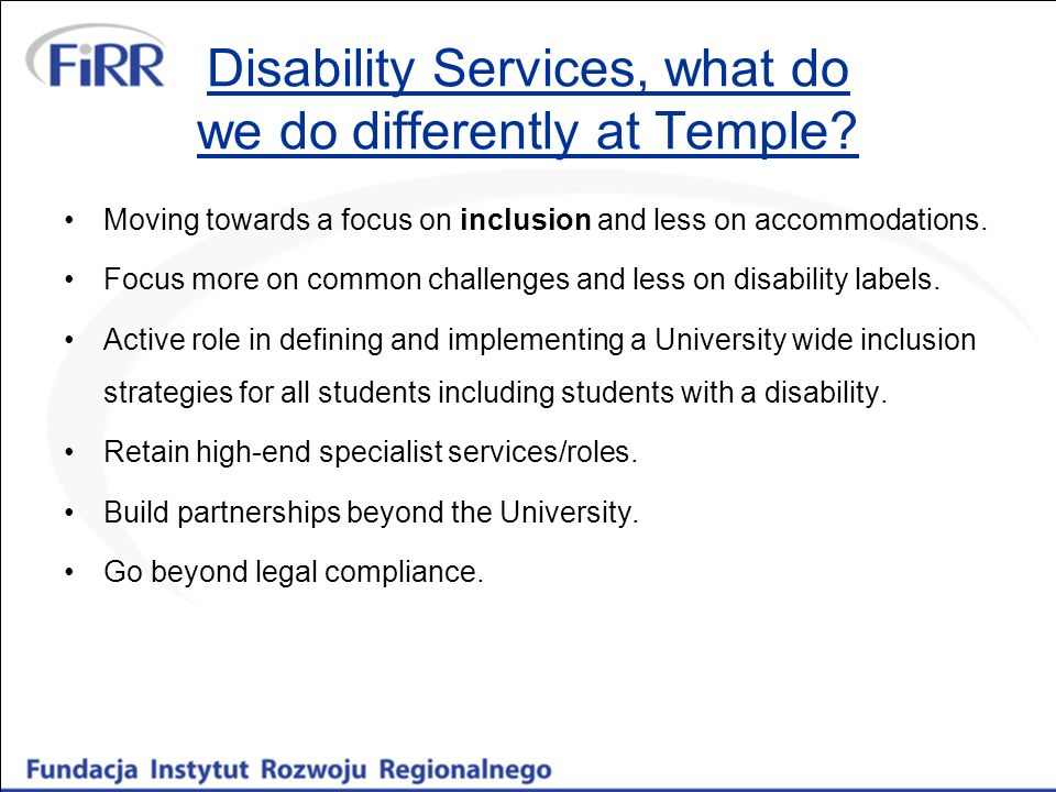 Disability Services, what do we do differently at Temple.