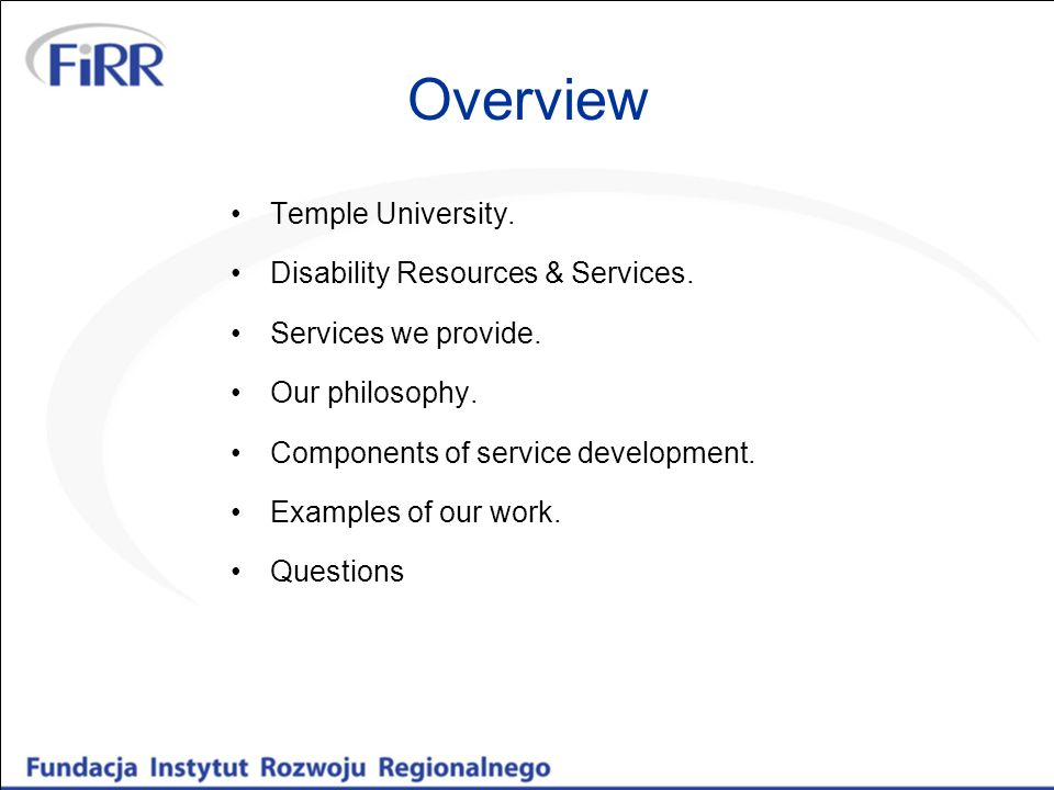 Overview Temple University. Disability Resources & Services.