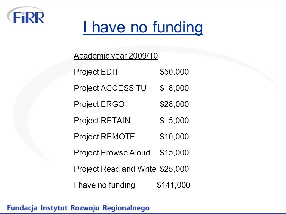 I have no funding Academic year 2009/10 Project EDIT $50,000 Project ACCESS TU $ 8,000 Project ERGO $28,000 Project RETAIN $ 5,000 Project REMOTE$10,0