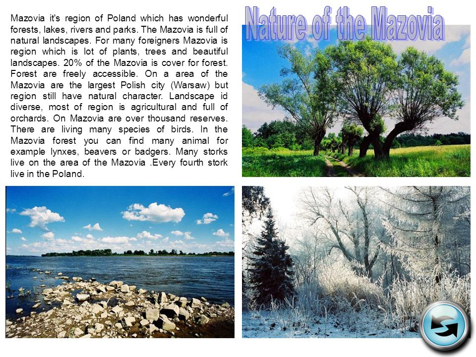 Mazovia it's region of Poland which has wonderful forests, lakes, rivers and parks. The Mazovia is full of natural landscapes. For many foreigners Maz