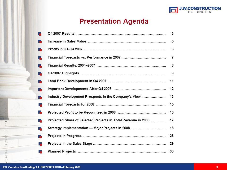 S t r i c t l y P r i v a t e & C o n f i d e n t i a l Presentation Agenda J.W.