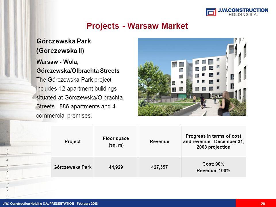 S t r i c t l y P r i v a t e & C o n f i d e n t i a l Projects - Warsaw Market Górczewska Park (Górczewska II) Warsaw - Wola, Górczewska/Olbrachta Streets The Górczewska Park project includes 12 apartment buildings situated at Górczewska/Olbrachta Streets - 886 apartments and 4 commercial premises.