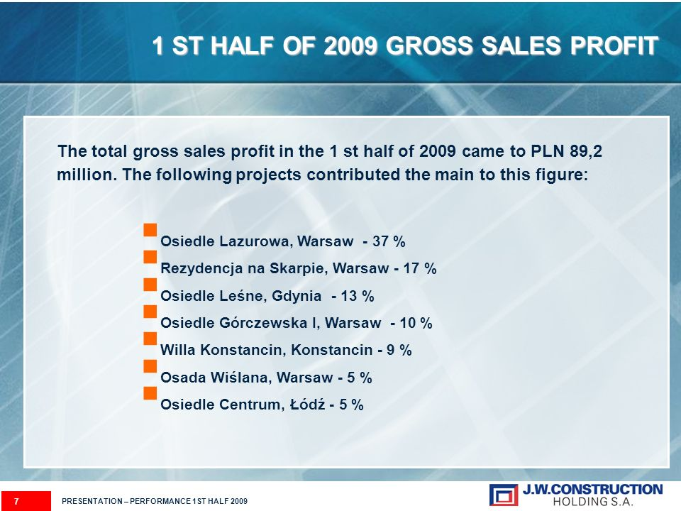 1 ST HALF OF 2009 GROSS SALES PROFIT The total gross sales profit in the 1 st half of 2009 came to PLN 89,2 million. The following projects contribute