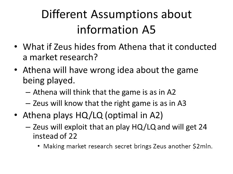 Different Assumptions about information A5 What if Zeus hides from Athena that it conducted a market research.