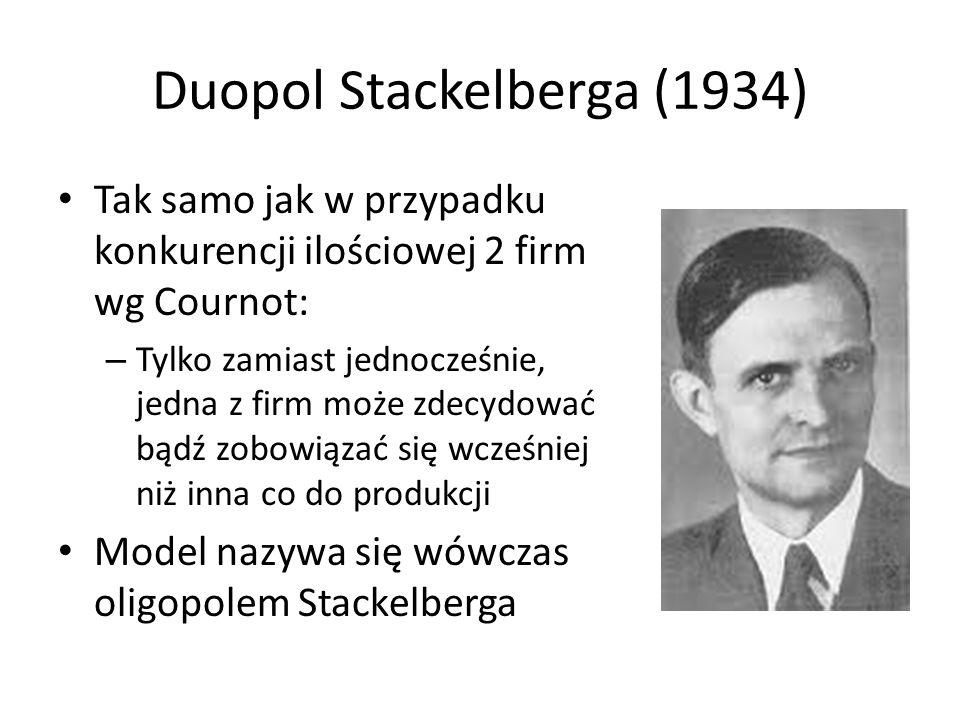Duopol Stackelberga (1934) Tak samo jak w przypadku konkurencji ilościowej 2 firm wg Cournot: – Tylko zamiast jednocześnie, jedna z firm może zdecydować bądź zobowiązać się wcześniej niż inna co do produkcji Model nazywa się wówczas oligopolem Stackelberga