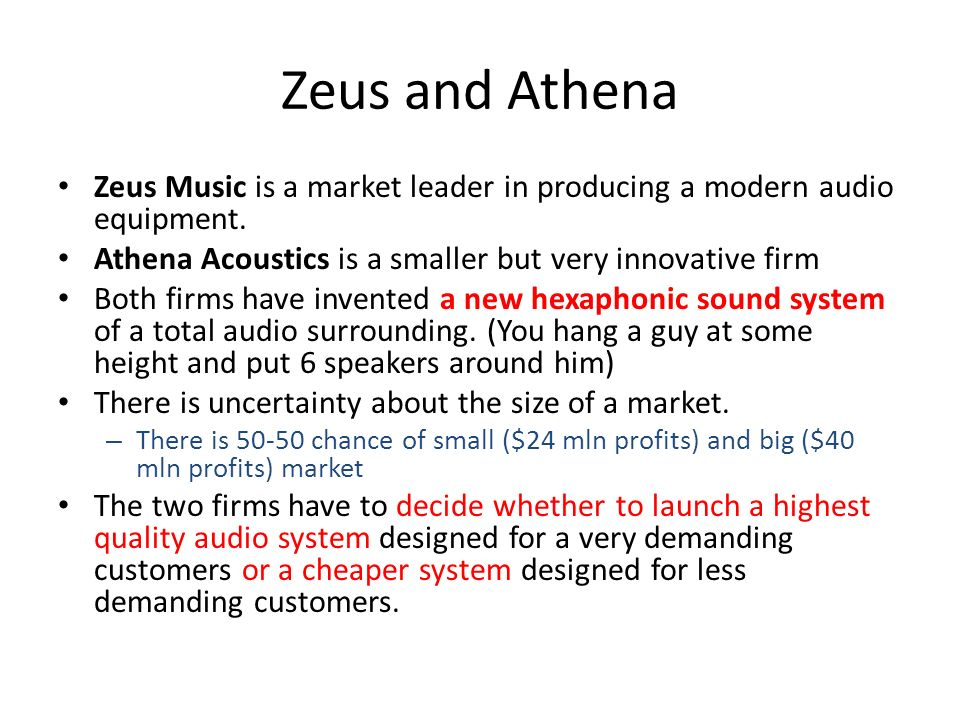 Zeus and Athena Zeus Music is a market leader in producing a modern audio equipment. Athena Acoustics is a smaller but very innovative firm Both firms