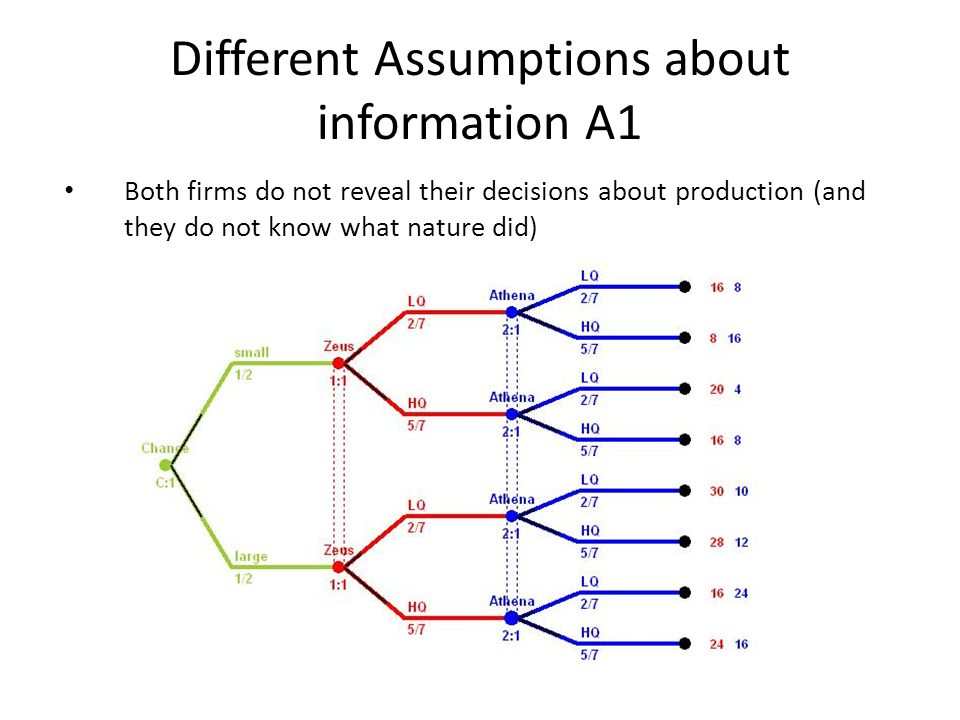 Different Assumptions about information A1 Both firms do not reveal their decisions about production (and they do not know what nature did)