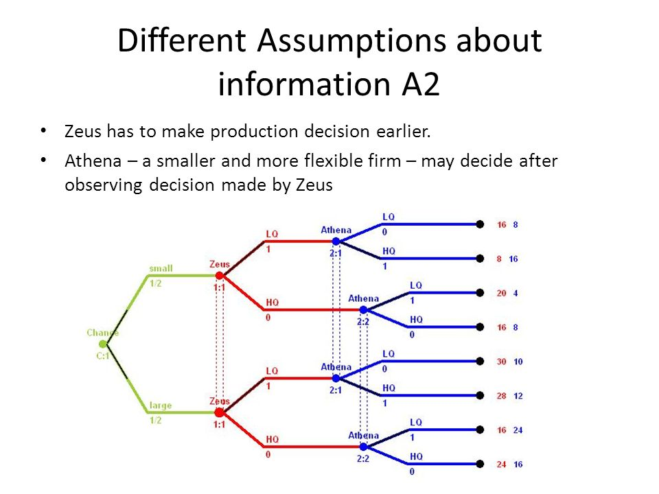 Different Assumptions about information A2 Zeus has to make production decision earlier. Athena – a smaller and more flexible firm – may decide after