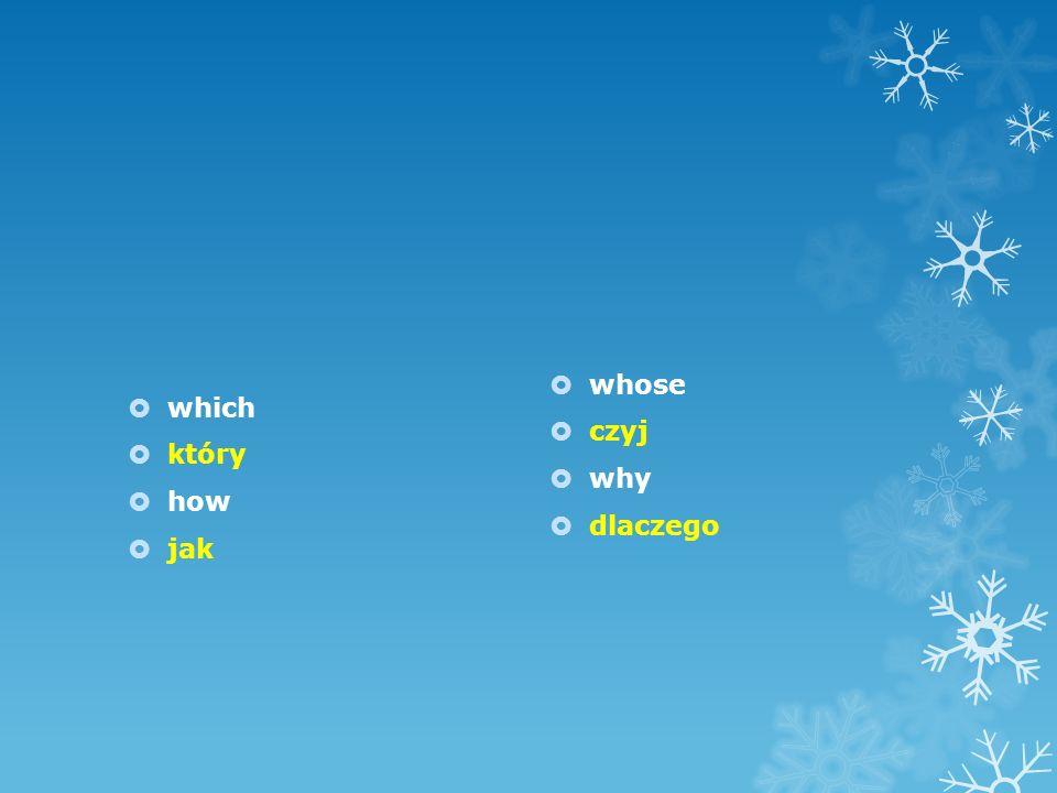 which który how jak whose czyj why dlaczego