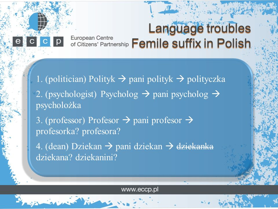 Language troubles Femile suffix in Polish 1. (politician) Polityk pani polityk polityczka 2.