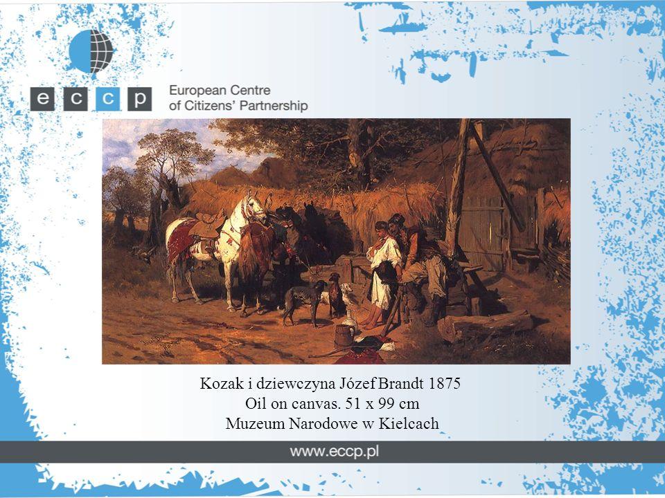 Kozak i dziewczyna Józef Brandt 1875 Oil on canvas. 51 x 99 cm Muzeum Narodowe w Kielcach