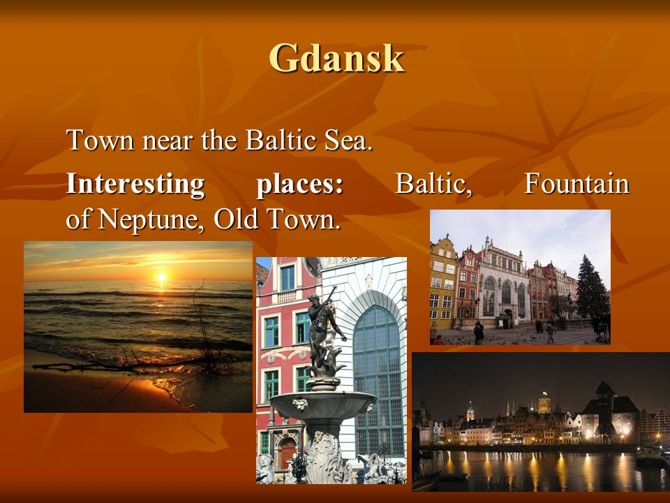 Gdansk Town near the Baltic Sea. Interesting places: Baltic, Fountain of Neptune, Old Town.