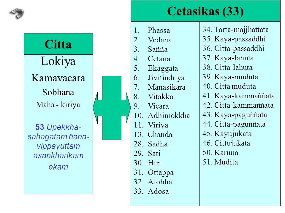 Lokiya Kamavacara Sobhana Maha - kiriya 53 Upekkha- sahagatam ñana- vippayuttam asankharikam ekam Citta 1.Phassa 2.Vedana 3.Sañña 4.Cetana 5.Ekaggata