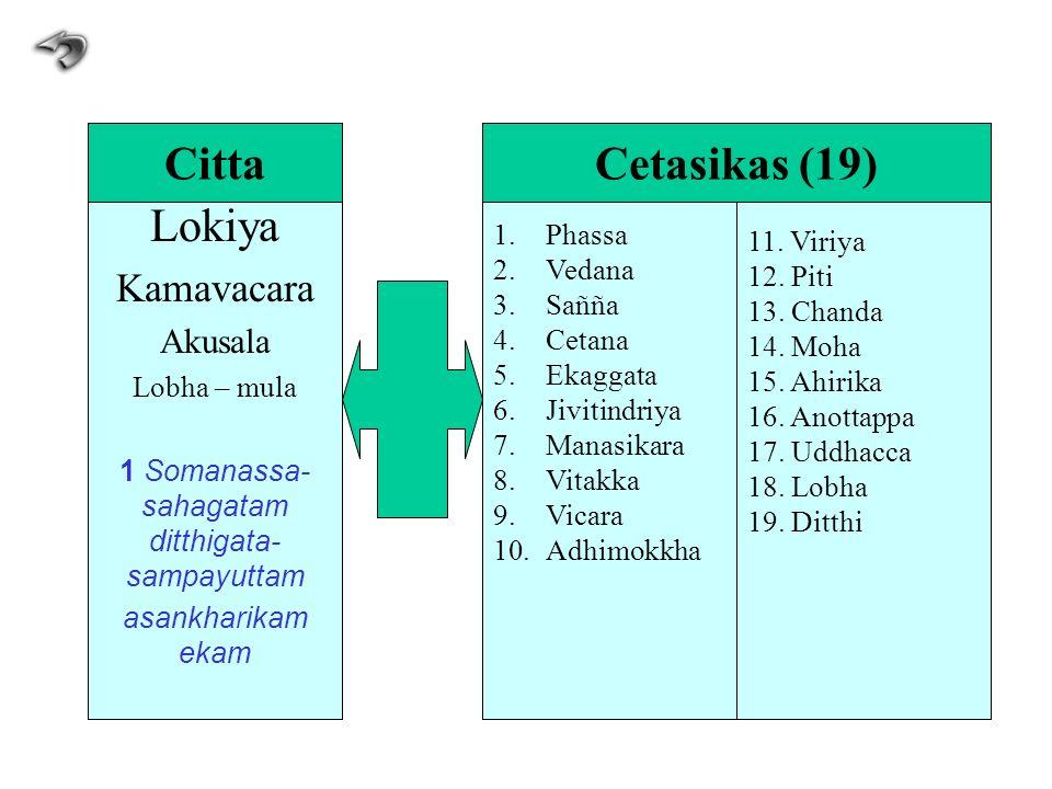 Lokiya Kamavacara Akusala Lobha – mula 1 Somanassa- sahagatam ditthigata- sampayuttam asankharikam ekam 1.Phassa 2.Vedana 3.Sañña 4.Cetana 5.Ekaggata