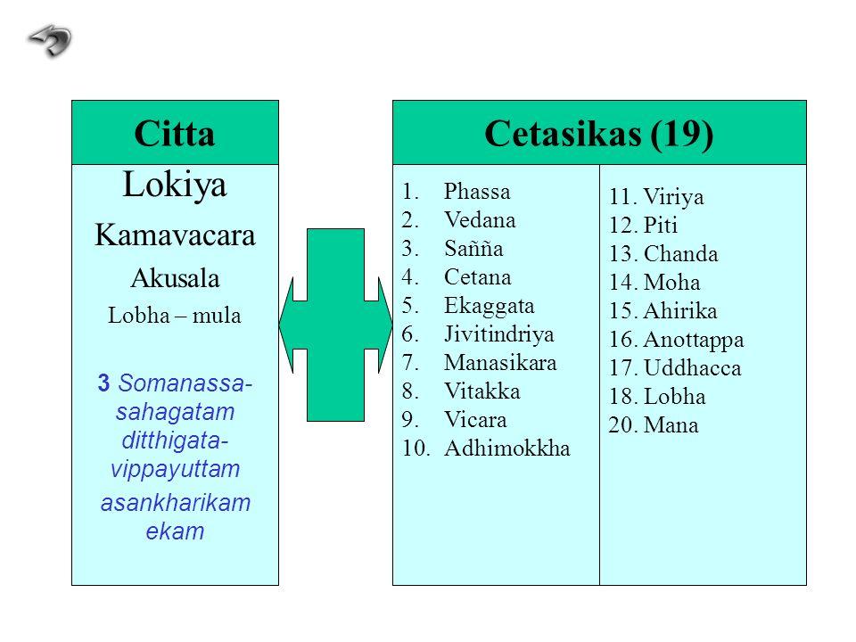 Lokiya Kamavacara Akusala Lobha – mula 3 Somanassa- sahagatam ditthigata- vippayuttam asankharikam ekam 1.Phassa 2.Vedana 3.Sañña 4.Cetana 5.Ekaggata