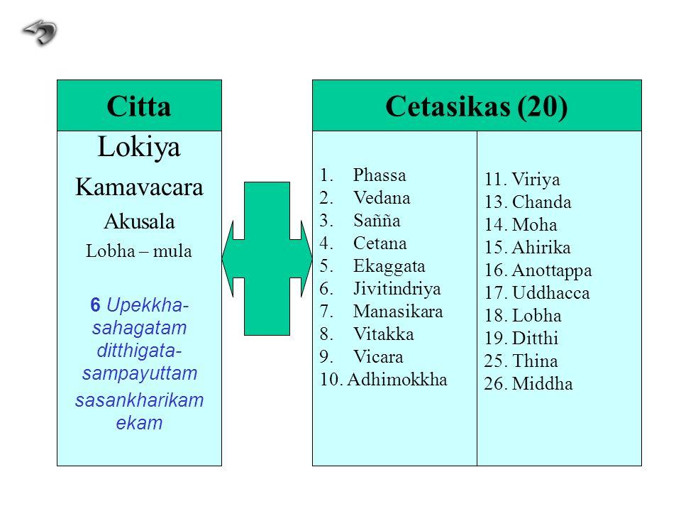 Lokiya Kamavacara Akusala Lobha – mula 6 Upekkha- sahagatam ditthigata- sampayuttam sasankharikam ekam 1.Phassa 2.Vedana 3.Sañña 4.Cetana 5.Ekaggata 6