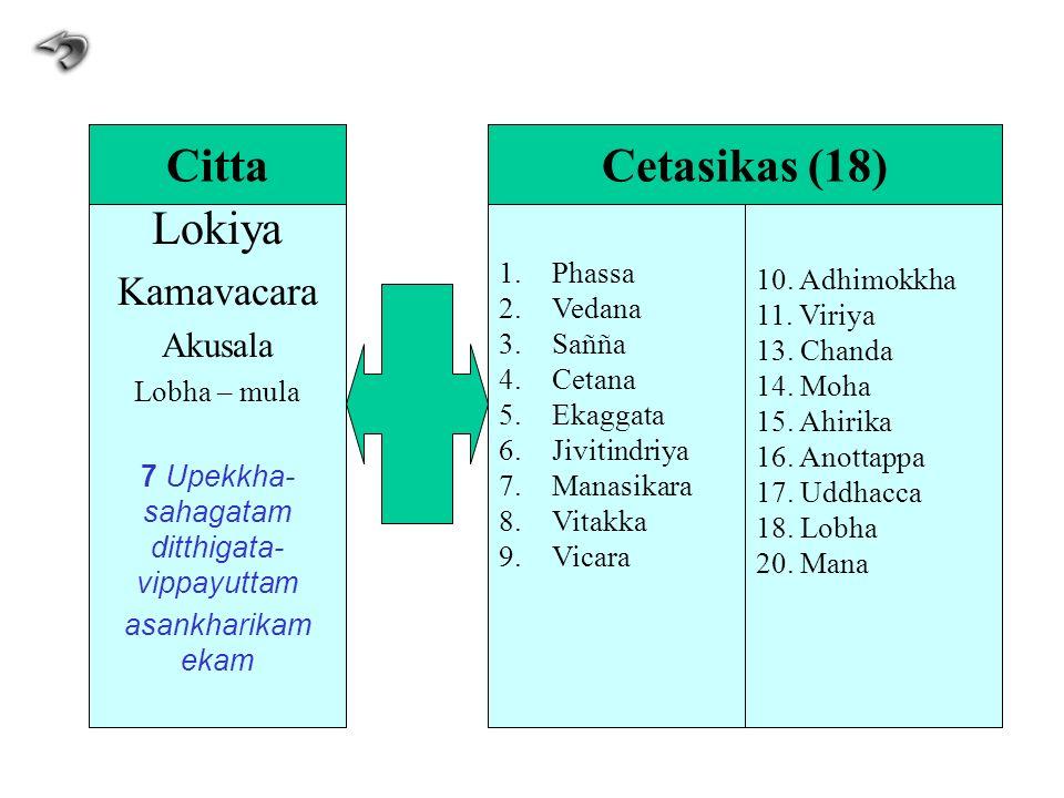 Lokiya Kamavacara Akusala Lobha – mula 7 Upekkha- sahagatam ditthigata- vippayuttam asankharikam ekam 1.Phassa 2.Vedana 3.Sañña 4.Cetana 5.Ekaggata 6.
