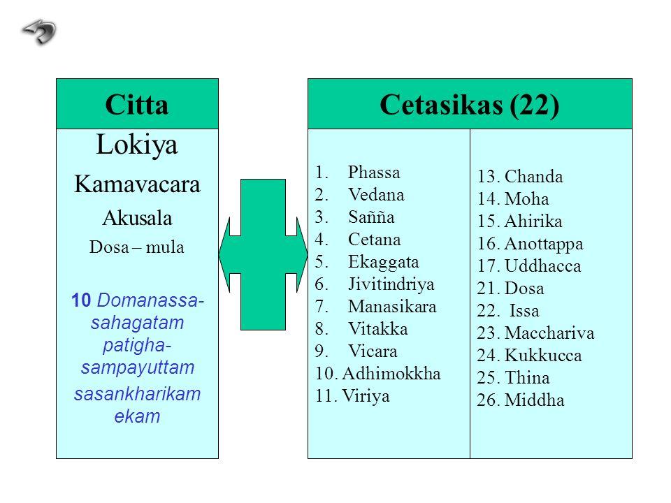 Lokiya Kamavacara Akusala Dosa – mula 10 Domanassa- sahagatam patigha- sampayuttam sasankharikam ekam 1.Phassa 2.Vedana 3.Sañña 4.Cetana 5.Ekaggata 6.