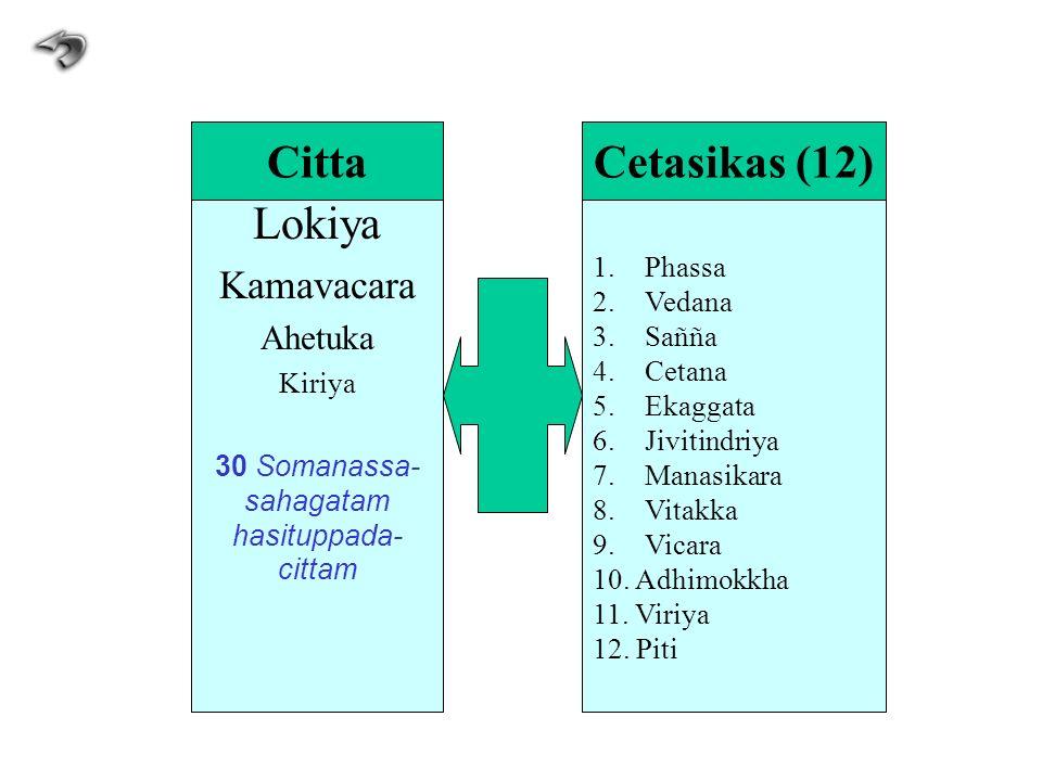 Lokiya Kamavacara Ahetuka Kiriya 30 Somanassa- sahagatam hasituppada- cittam 1.Phassa 2.Vedana 3.Sañña 4.Cetana 5.Ekaggata 6.Jivitindriya 7.Manasikara